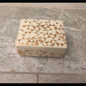 J. Crew gold and cream jewelry box